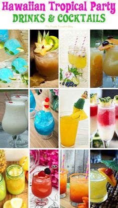 Recipes for a Hawaiian Tropical Party Hawaiian Tropical Party Recipes - Drinks and Cocktails + lots more delicious recipes!Hawaiian Tropical Party Recipes - Drinks and Cocktails + lots more delicious recipes! Hawaiian Party Drinks, Party Drinks Alcohol, Hawaii Party Food, Hawaiian Theme Party Food, Hawaiian Luau Food, Hawaiian Appetizers, Luau Drinks, Tropical Party Foods, Pool Party Drinks