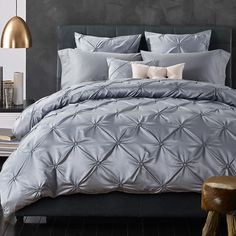Luxurious Silk Bedding Set European Ruffle Bed Linen Sets King Queen Size Bedspread Gray Duvet Cover Wedding Bed Set