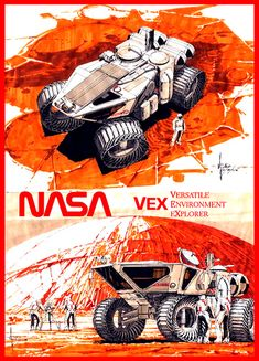 What a great level of detail. This is what I'm talking about when considering a poster for a very technical theme. Syd Mead concept for a rover