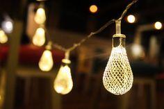 Silver White Water drop metal jaali String lights & by StudioKaeth Unique Lighting, Lighting Ideas, Lamp Light, Light Bulb, Water Drops, String Lights, Lamps, Metal, Silver
