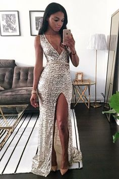 elegant deep v-neck prom party dresses with appliques split, sparkle fashion formal evening gowns.