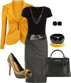 work outfit Yellow blazer Blk blouse Grey pencil skirt Blk/wht snakeskin heels