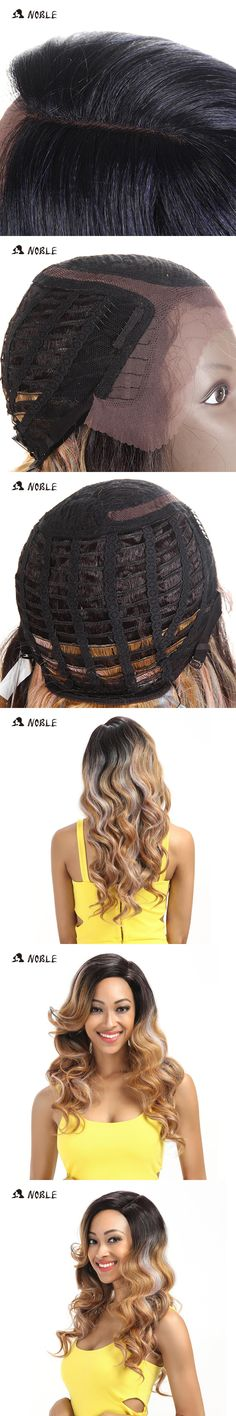 Noble T Part Lace Front Wig 22 Inch Long Wavy Synthetic Wigs For Black Women Full I Part Wigs  3 Colors Choice Free Shipping