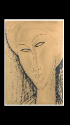 "Amedeo Modigliani - "" Tête de femme "" - Pen, brush and ink, and pencil on paper - 31,5 x 22,5 cm"