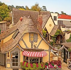 The Tuck Box Tea Room, in Carmel, CA. The whole town is full of fairy-tale looking cottages and beautiful lush greenery all located on the Pacific coast.A must see place ! Carmel California, California Travel, Northern California, California Missions, California Destinations, Monterey California, California Living, Storybook Homes, Storybook Cottage