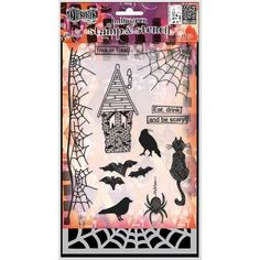 Dylusion's Clear Stamp/Stencil Set - Eat, Drink and Be Scary