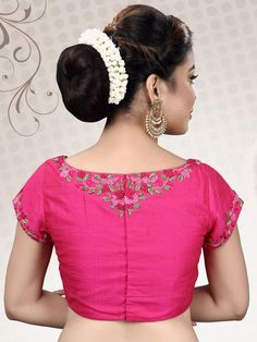 Shop Raw silk fabric magenta ready made blouse online from India. Saree Blouse Neck Designs, Bridal Blouse Designs, Hand Work Blouse, Raw Silk Fabric, Designer Blouse Patterns, Mirror Work, Embroidery Fashion, Boat Neck, Embroidery Stitches