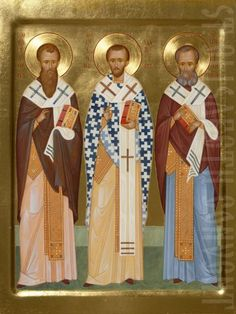 Painted icon 3 holy hierarchs, made to order. Catalog of St Elisabeth Convent. Saint Gregory, John Chrysostom, Paint Icon, St Basil's, Train Up A Child, Orthodox Icons, Religious Art, Saints, Angels
