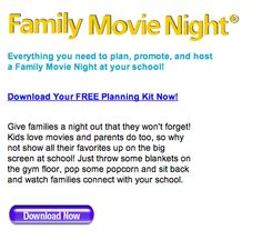 Download the free PTO Today Family Movie Night kit! It has activity ideas and organizational tips to help you create a successful event!