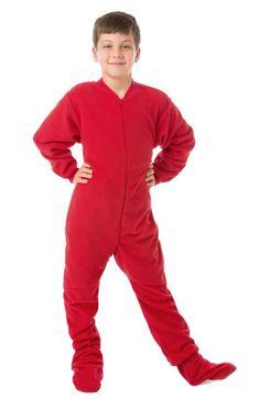 Big Feet PJs Big Boys Kids Red Fleece Footed Pajamas Onesie Comfy Micro-Polar Fleece Zipper Front Non-Slip Soles Will not shrink, pill or fade SIZING: . Pajamas For Teens, Toddler Pajamas, Matching Family Pajamas, Boys Pajamas, Infant Toddler, Fleece Pajamas, Onesie Pajamas, One Piece Pajamas