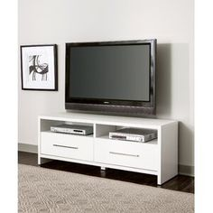 Latitude Run® Connie-Agnes TV Stand | Wayfair Wood Drawers, Large Drawers, White Tv Stands, Rack Tv, Muebles Living, Coastal Living Rooms, Storage Compartments, Open Shelving, Shopping
