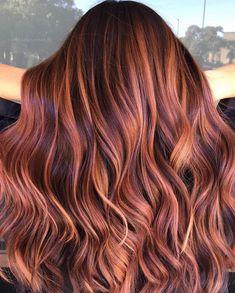Rose Gold Balayage Brunettes, Auburn Hair Balayage, Balayage Hair Copper, Hair Color Auburn, Red Hair Color, Red Hair With Balayage, Red Balyage, Bright Red Hair, Dark Red Hair