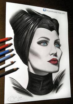Angelina Jolie(Maleficent, Drawing pencils) by SergioBrutalArt.deviantart.com on @DeviantArt