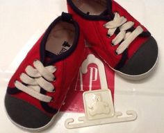 NWT Baby GAP Boys Sneakers RED & GRAY SIZE 12-18 Months Adorable