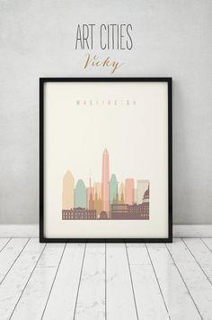 Washington DC print, Poster, Wall art, Washington DC skyline, City poster, Typography art, Home Decor, Digital Print, Art Prints VICKY.   QUALITY