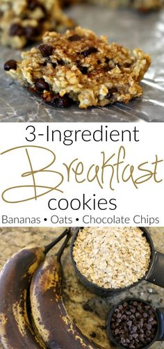 3 ingredient breakfast cookies - bananas, oats and chocolate chips and other great make ahead breakfast recipes(Quick Breakfast Recipes) Quick Healthy Breakfast, Make Ahead Breakfast, Breakfast Recipes, School Breakfast, Dessert Simple, Chocolate Chip Oatmeal, Chocolate Chips, Chocolate Cookies, Oatmeal Breakfast Cookies