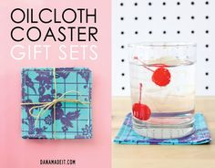 simple handmade gifts: Oilcloth Coasters | MADE