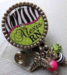 RN Nurse ID Badge Reel Personalized Name Silver Pendant  - zebra, alligator clip, medical symbol, medical office, nurse, nurse practitioner. $19.00, via Etsy.