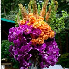 Purple, orange and green flowers