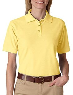 Ultraclub Ladies Whisper Piqu Polo Shirt Yellow Small >>> Read more reviews of the product by visiting the link on the image.
