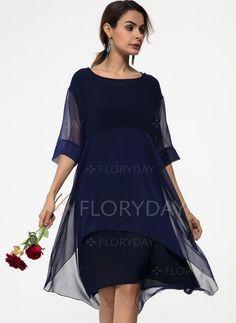 b87433dec61 Dress -  49.99 - Chiffon Solid Half Sleeve Midi Shift Dress (1955146129)  Slit Dress