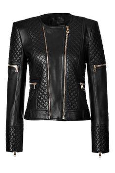 LeatherBoldShoulderQuiltedJacketfromBALMAIN | Luxury fashion online | STYLEBOP.com