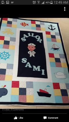 Personalised quilt marins theme for a baby boy. That is so cute
