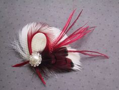 Ivory, Bridal, Feather, Fascinator, Hair, PIece, Wedding, Accessory, red, clip, facinator, Valentine's Day - PEPPERMINT on Etsy, $39.00