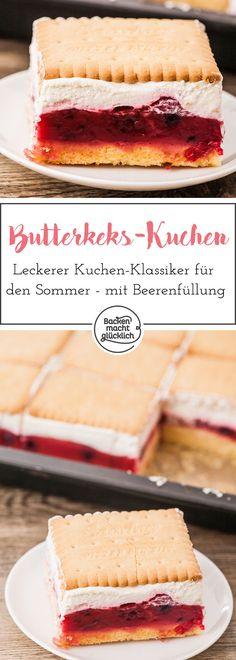Butterkeks-Kuchen ist einer unserer allerliebsten Sommerkuchen. Der Butterkeks-Kuchen kommt immer gut an, ist vergleichsweise schnell zu backen und schmeckt durch die Beerenfüllung schön fruchtig. Mit Tiefkühlbeeren bekommt der sommerliche Kuchen eine besonders intensive Farbe.