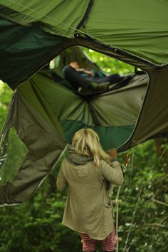 A simple rope ladder allows easy access to and from the tent and ensures no unwanted 'visi...