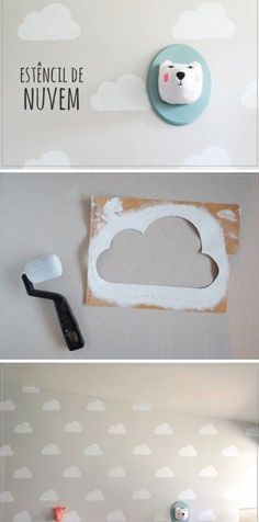 A cloud template for quick children's room wall design, room ideas wall … - Kinderzimmer Nursery Wall Decor, Baby Decor, Nursery Room, Kids Decor, Boy Room, Home Decor, Baby Bedroom, Girls Bedroom, Bedroom Wall