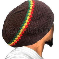 Rasta 100% Cotton Tam Beret Cap Hat Roots Rock Reggae Marley Irie Jamaica M to L