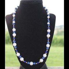 Handmade blue and white necklace Blue and White Pearl Necklace!  Handmade by me.  Made with vintage Beads  22 inches long Jewelry Necklaces