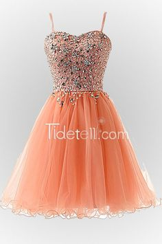Hot A-line Spaghetti Straps Above Knee Tulle Prom Dress With Crystal