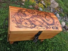 Antique wood chest with Pyro art by by ToastedBoardzShop on Etsy