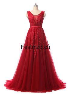 Rot Perlen Lange Tüll Ballkleider
