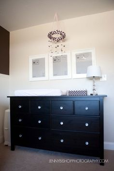 Will set up a similar dresser/changing table set up with IKEA white dresser Ikea White Dresser, Black Dressers, Baby Changing Table, Changing Table Dresser, Changing Pad, Bedroom Black, Baby Bedroom, Master Bedroom, Baby Mädchen Mobile