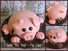This cake was pretty fun to make. It wasn't for any  special occasion, I just wanted to try a pig cake and here it is!   3 cups cake ...
