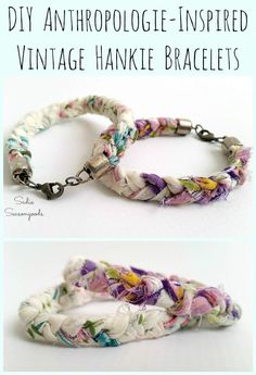Learn how to upcycle and repurpose a vintage handkerchief or hankie into a sweet and simple Anthropologie inspired braided bracelet with this craft project tutorial from Sadie Seasongoods Jewelry Clasps, Boho Jewelry, Beaded Jewelry, Handmade Jewelry, Jewlery, Jewelry Chest, Country Jewelry, Cowgirl Jewelry, Gothic Jewelry