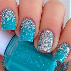 Great Glitter Nail Art Designs 2018 It is quite simple to belittle blue-green shading nails, however, once you observe the really perfect plans that can leave the contribution of this shade you will be completely entranced! The thing is that greenish blue nails are neither one of the blues nail outlines as a few