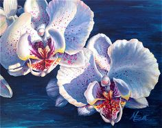 Two White Orchids Acrylic Painting Michelle East Art -original watercolor and acrylic paintings by Michelle C. Macro Flower, Flower Art, Acrylic Flowers, Watercolor Flowers, Watercolor Paintings For Sale, Floral Paintings, Acrylic Paintings, White Orchids, White Flowers
