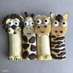 Adorable little creatures from food – Food Carving Ideas - Kids Snacks Food Art For Kids, Cooking With Kids, Children Food, Food Kids, Easy Cooking, Healthy Cooking, Cute Snacks, Cute Food, Toddler Meals