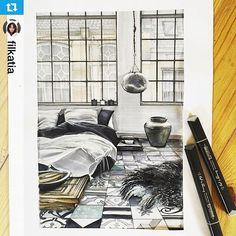 #interiordegrass : Интерьерный скетч нашей студентки @filkatia #скетч #artedegras #interior #markers #markersketch #markerdrawing #интерьер #скетчинг #дизайн #arteinteriorsketch