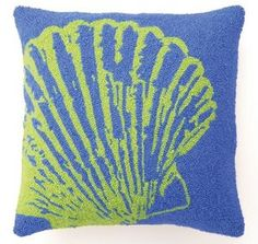 Ocean Blue Pillow with Green Scallop Shell $58.95