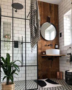 Industrial Bathroom Design, Bathroom Interior Design, Industrial Style, Industrial Showers, Bathroom Designs, Wood Bathroom, Bathroom Hardware, Small Shower Bathroom, White Subway Tile Bathroom