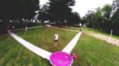 Unusual Diy Backyard Games Easy Outdoor Fun like a slip and slide baseball field. Youth Group Games, Family Games, Family Reunion Games, Youth Groups, Youth Group Events, Family Activities, Small Groups, Slip And Slide Kickball, Slip N Slide
