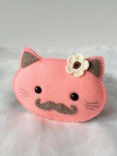 Mustache Cat Brooch Kawaii Bright Pink Mustached Animal Felt Brooch with Crocheted Flower