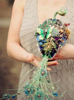 Wedding brooch bouquet the PEACOCK EMPRESS  by hairbowswonderworld, $895.00
