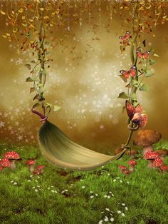 Forest Glass Photography Background Swing Flower Rattan Backdrops for Children Photo Studio Size Optional
