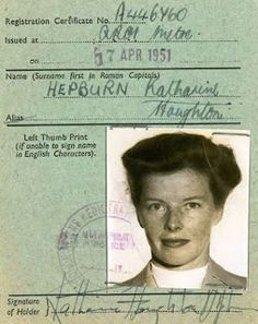 Katharine Hepburn Fan Art: Katharine Hepburn's Certificate of Alien Registration Margaret Sanger, Cary Grant, Classic Hollywood, Old Hollywood, Tom Selleck Movies, Katharine Hepburn Spencer Tracy, English Characters, Beard Lover, Actors